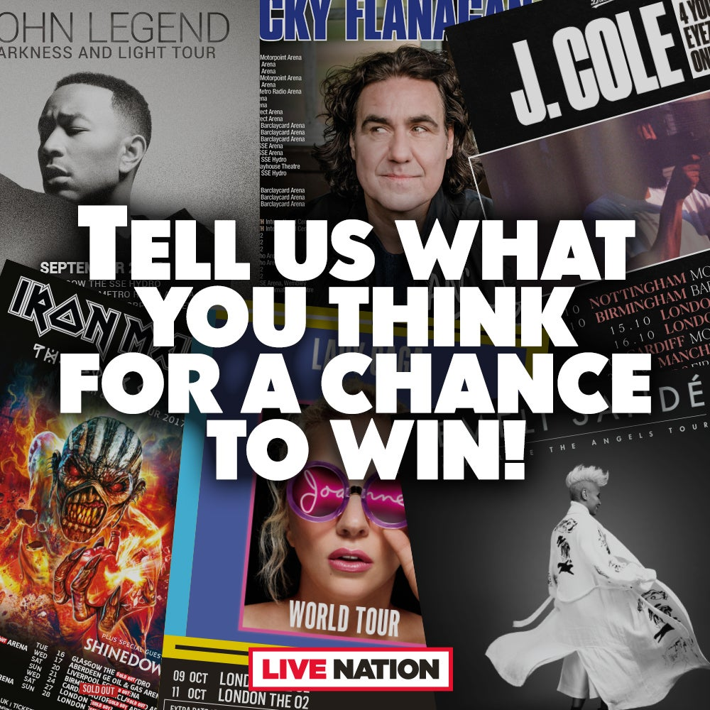 Tell Us What You Think For a Chance To Win Tickets To Three Live Nation Gigs Of Your Choice