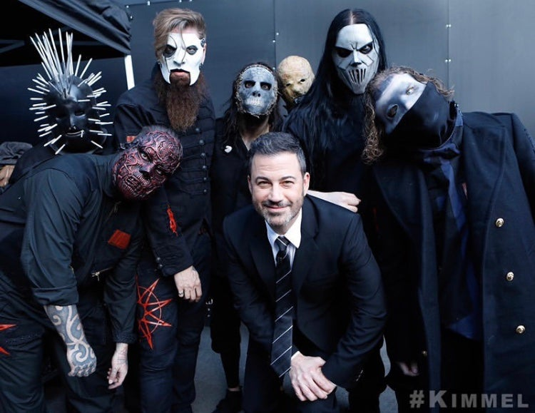 "SLIPKNOT Live on Jimmey Kimmel and announce new album We Are Not Your Kind is out August 9 featuring the new single ""Unsainted"""